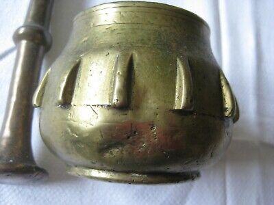 Bronze Mörser o. Messing Mörser   Stößel Rippenmörser Pistill 2