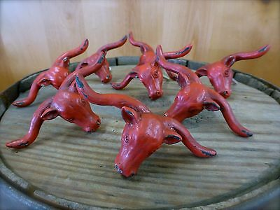 8 RED STEER BULL DRAWER CABINET PULL HANDLE KNOB VINTAGE-STYLE WESTERN hardware 3