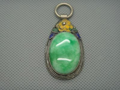 Collectibles Old Decorated Handwork tibet Silver Inlay Jade cloisonne Pendant01 9