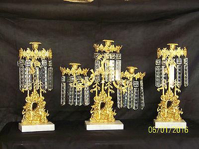 c1850's 3pc Set Girandole Majestic Candelabras Phili.-N.Y. w/Crystal Gold Gilded 2