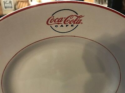 """Gibson Dinnerware Coca Cola Cafe Diner Pat. Large  Dinner Plate 11 1/2"""" Red Trim 5"""