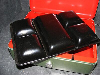 Große Geldkassette Kasse Hammerschlag  Münzeinsatz Döbeln Art Deco Bauhaus 2,8kg