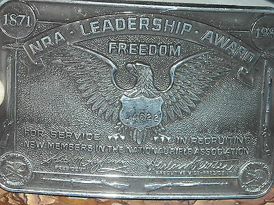 VINTAGE limited ed 1983 NRA leadership award buckle nat rifle assoc freedom 3