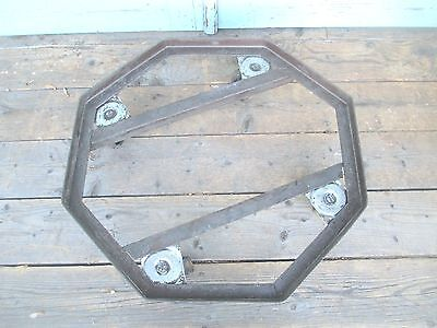 rare PLANT STAND on wheels MODERN octagon dolly STEM PUNK old MID CENTURY 5
