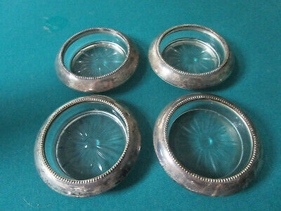 Antique Sterling  Etched Glass Footed Dish Coasters Bowl Cake Plate Shaker Pick 5