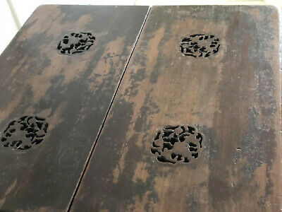 Antique Chinese Ice Chest Qing Period Box +Stand Bats Original Lacquer Shanxi 5