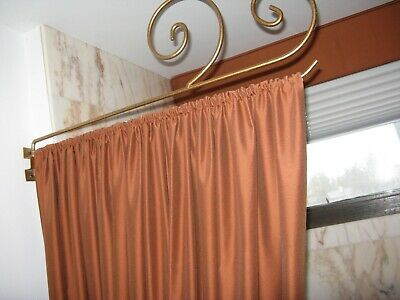 Modern Style Swing Arm Curtain/Drapery Rod in Antique Metal Gold Finis 2