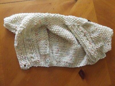 Brand New Hand Knitted Baby Girls Cream Fleck  Aran Cardigan With Collar 3