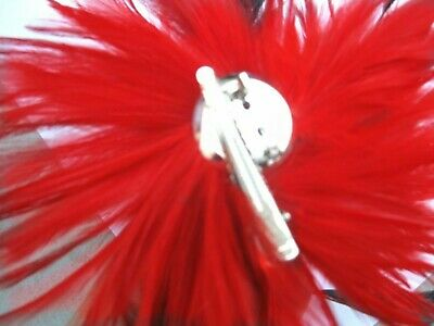 bright red black feather fascinator hair clip headpiece brooch wedding party 3