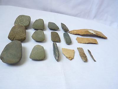 Collection 16 Neolithic Stone Axes,Blades, Tools and big sickle