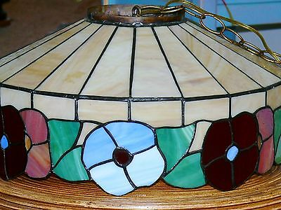 Vintage Slag Stained Glass Shade Flowers Hanging Ceiling Light Fixture Lamp 3