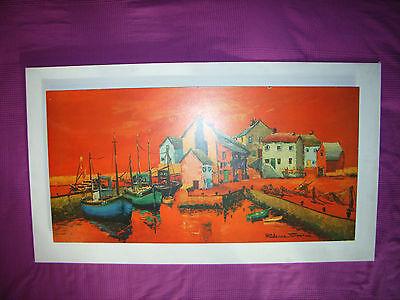 70er Jahre Bild Druck Fantasie von Prudence Turner 106x60cm orange