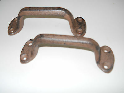 4 Cast Iron Antique Style RUSTIC Barn Handle, Gate Pull, Shed / Door Handles HD 2
