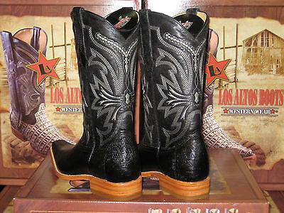 Details about  /Los Altos SANDED BLACK Genuine Teju Lizard Western Boots Square Toe EE