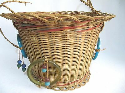 Antique Woven Wicker Reed Round Hanging Sewing Basket~Glass Bead Tassels~Vintage 4