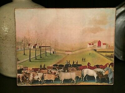 Antique Reproduction Primitive Folk Art Girl w Sheep Print on Canvas Board 8x10/""