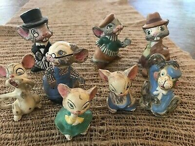 Antique 1919 8 Bisque Nodder Clay Mice Family German? Hand painted & signed RARE 2