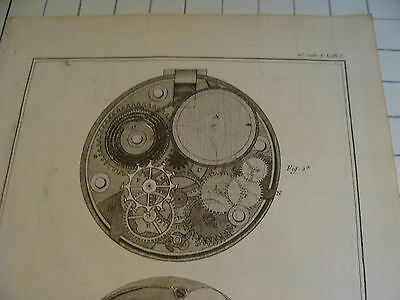 "Original engraving 1760's 10 1/2 x 16"" HORLOGERIE montre a repetition a echapeme 2"