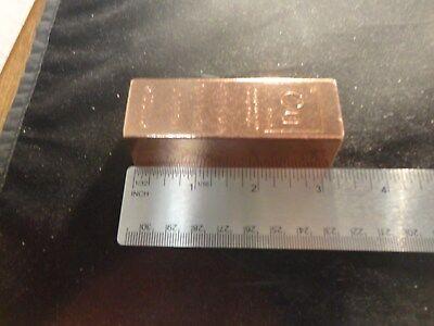 COPPER BAR 1 POUND-TRAPAZOID -SALE- Premium Bars- RANDOM DESIGN  STACKABLE-INGOT 5