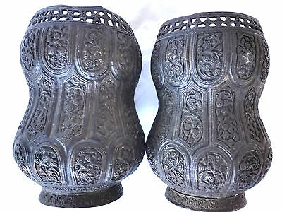 Pr.  18th/19th Century Persian Islamic Embossed Bronze Metal Vases/Urns 8