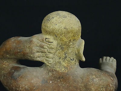 "Superb Pre-Columbian  Jalisco Ameca Style Seated Female Effigy Figure ~ 13"" H 7"