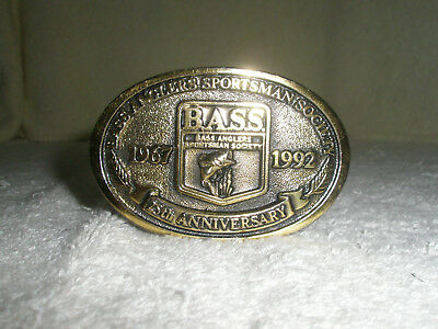 Vintage Brass Mens Bass Anglers Belt Buckle  25th Anniversary 2