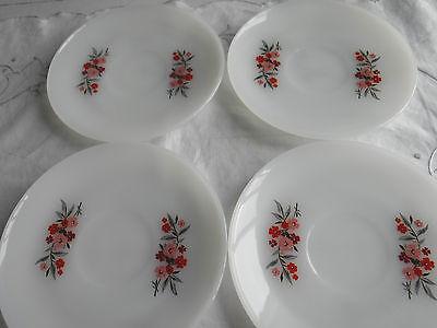 4 Fire-King Primrose Pattern Saucers  6'' 2