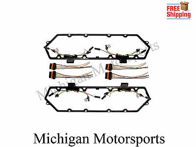 1 of 8free shipping 94-97 ford 7 3l diesel valve cover gasket kit fuel  injector wiring harness set