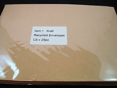 25 C5 Kraft Recycled Envelopes Brown Natural Cardmaking Card FREE POSTAGE