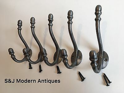 Double Coat Hook Iron Antique Modern Vintage Black Grey Hat Rack Acorn Old Set 5 5
