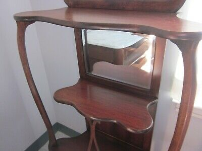 20Th Century Wooden  Etagere With 2 Mirrors And 3-Tier Shelves 3