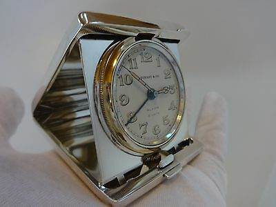 ANTIQUE TIFFANY & CO STERLING SILVER 8 DAY TRAVEL ALARM CLOCK (Watch video) 3