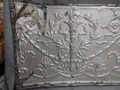1 Salvaged Antique Tin Ceiling Decorative Pattern Old Vtg Torch Trim Edge 150-16 2