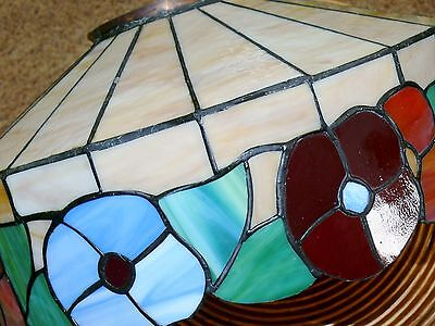 Vintage Slag Stained Glass Shade Flowers Hanging Ceiling Light Fixture Lamp 10