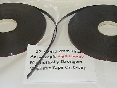 Magnetic Tape,Strip Self Adhesive 12.7mm x 2mm  Anisotropoic Strong High Energy 8