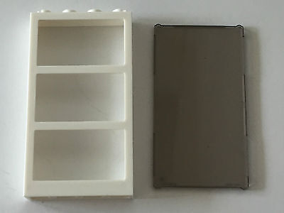 Lego X10 Black Frame 1x4x6 With 3 Panes With Trans-clear Glass Insert Parts Lot