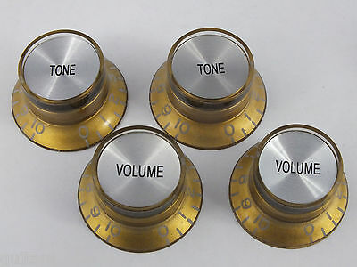 BELL REFLECTOR KNOBS Top Hat Mirror in 6 Colours for Gibson style guitars 7