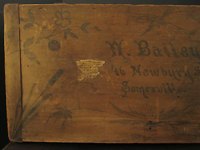 Antique Victorian American Folk Art Painted Trunk Bailey Somerville Ma Boston 7