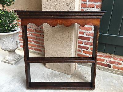 Antique English Carved Tiger Oak Plate Platter Wall Rack Display Shelf Kitchen 2