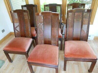 Bernhardt Dining Room Rare Set Shibui Style 2 Leaves 6 Chairs Lighted Hutch