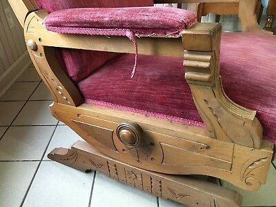Brilliant Antique Carved Victorian Platform Rocking Chair Mauve Velvet Gmtry Best Dining Table And Chair Ideas Images Gmtryco