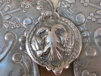 ANTIQUE OTTOMAN ERA Balkan Greek Flower Ornate SILVER  BELT BUCKLE  19th C. 3