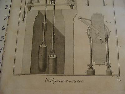 """Original engraving 1760's 10 1/2 x 16"""" Horlogerie Reveil a Poids 2"""