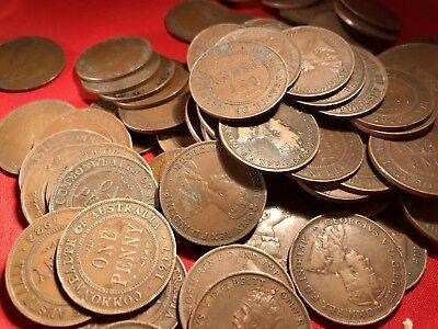 Australian KGV Pennies. Pre Decimal Coins. x20 Big Variety Of Years. 2