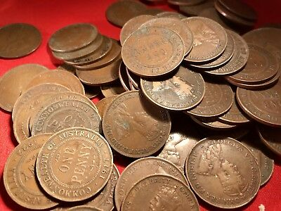 Australian KGV Penny. Pre Decimal Coins. x20 Pennies. Big Variety Of Years. 2