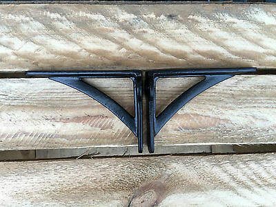 "Pair Black 4.5"" ANTIQUE HEAVY CAST IRON VICTORIAN SHELF WALL BRACKETS - BR23bx2 4"