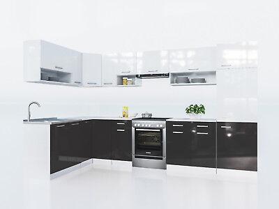 Kuche Lux L Form Weiss Schwarz 327x167 Cm Hochglanz Kuchenzeile