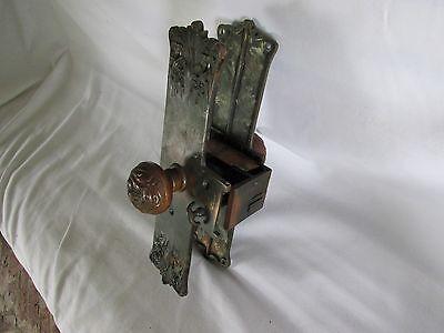 Antique Art Nouveau Door Knob Backplate & Lock Assembly, Bronze?