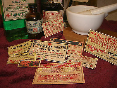 Set of 13 POISON VINTAGE LOOK APOTHECARY LABELS Halloween / Primitive 2