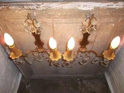 French a pair of  gorgeous antique patina gold bronze crystals